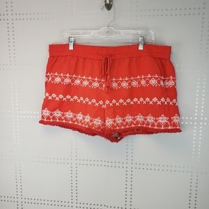 Loft | Cute Salmon Color Embroidered Shorts
